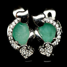 Natural EMERALD & W. Cubic Zirconia Stones Sterling 925 Silver HEART EARRINGS