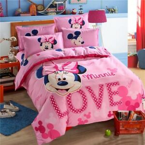 Minnie-Kids-Bedding-Sheets-Bed-Duvet-Cover-Set-Pillowcase-Princess-Cartoon-pink