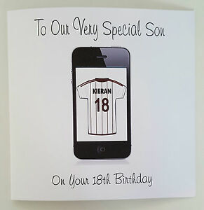 Image Is Loading Large Personalised 18th Birthday Card Son Iphone ANY