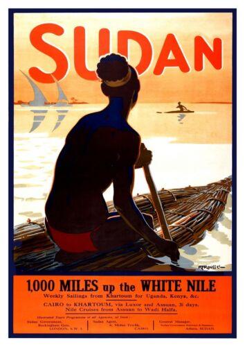 Sudan : Vintage Travel advertising Wall art reproduction. poster poster
