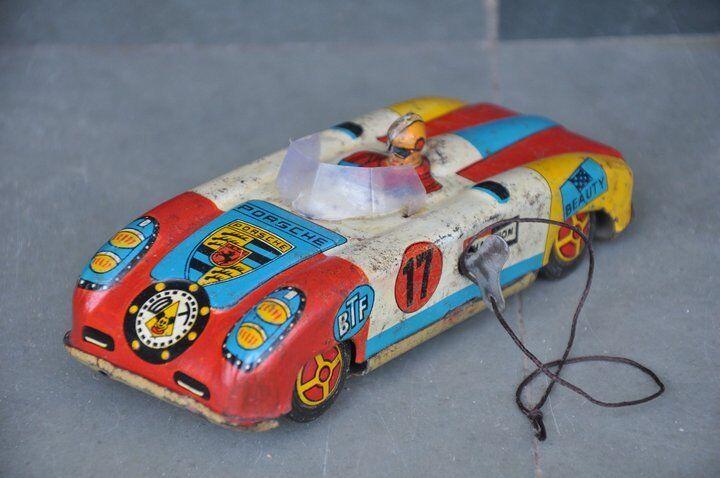 Vintage Wind Up Porsche BTF, coche deportivo 17 campeón Litografía juguete de estaño