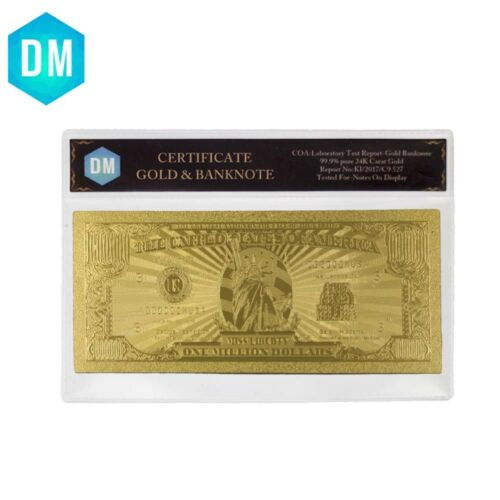 US One Milliond Dollar 24k Gold Plated Gold Banknote World Money with COA Frame
