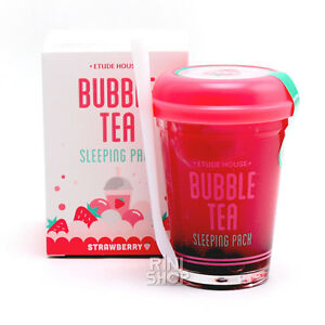 ETUDE HOUSE Bubble Tea Sleeping Pack Strawberry Complete Facial Cleansing Pre-Wet Towelettes Pineapple Enzyme - 30 Towelette(s) by The Creme Shop (pack of 1)