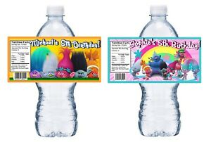 TROLLS PERSONALIZED BIRTHDAY PARTY FAVORS WATER BOTTLE LABELS WRAPPERS CUSTOM