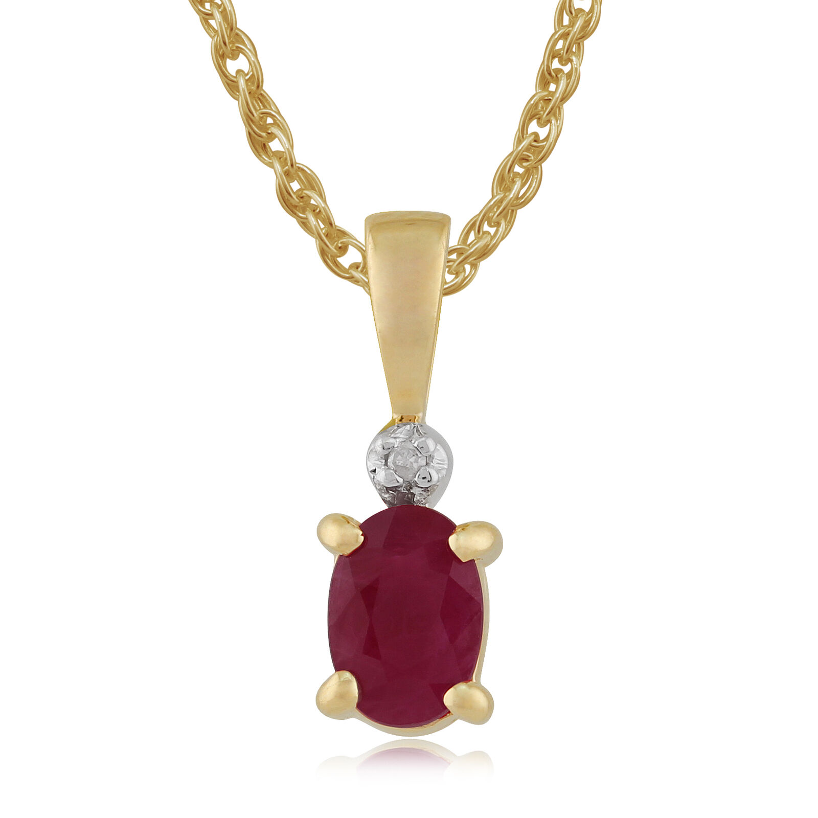 9ct Yellow gold 0.59ct Ruby & Diamond Pendant On Chain