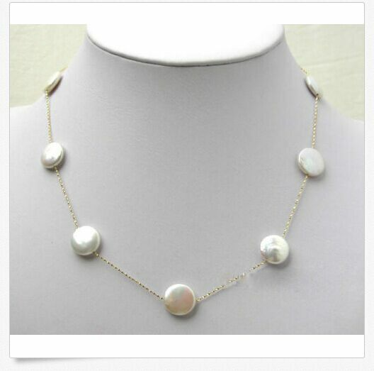 """MP"""" Natural 13-15MM AAA White pearl necklace chain 16"""" Long"""