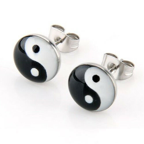 PAAR Rundstift Symbol Yin und Yang 10mm Ohrringe W6M9
