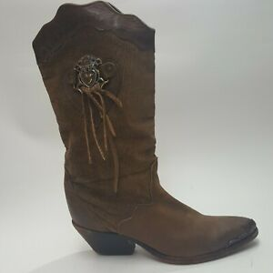 ZODIAC-USA-Womens-Leather-Cowboy-Boots-Brown-Western-Boots-Size-5-M