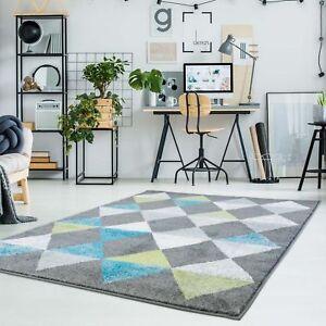 Teppich-Flachflor-Moda-mit-Modern-Geometrischen-Muster-Raute-Optik-Tuerkis-Gruen