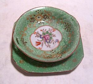 """2 Piece Vintage Ornate Hand-Painted Porcelain Green Candy Dish Made in Japan 6"""""""