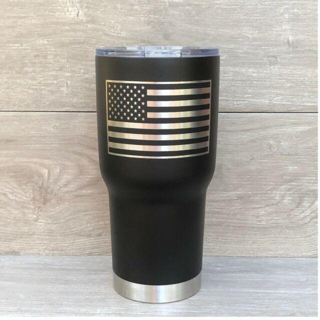 30oz Powder Coated Matte Black Laser Engraved American Flag USA Tumbler Cup