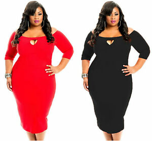 Bodycon-Plus-Size-Dress-Ladies-Red-Black-3-4-Length-Sleeve-with-Keyhole-14-16-18
