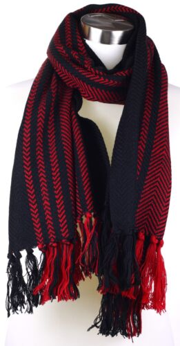Mens Very Thick Large Winter Warm  Scarf with Zig Zag Pattern