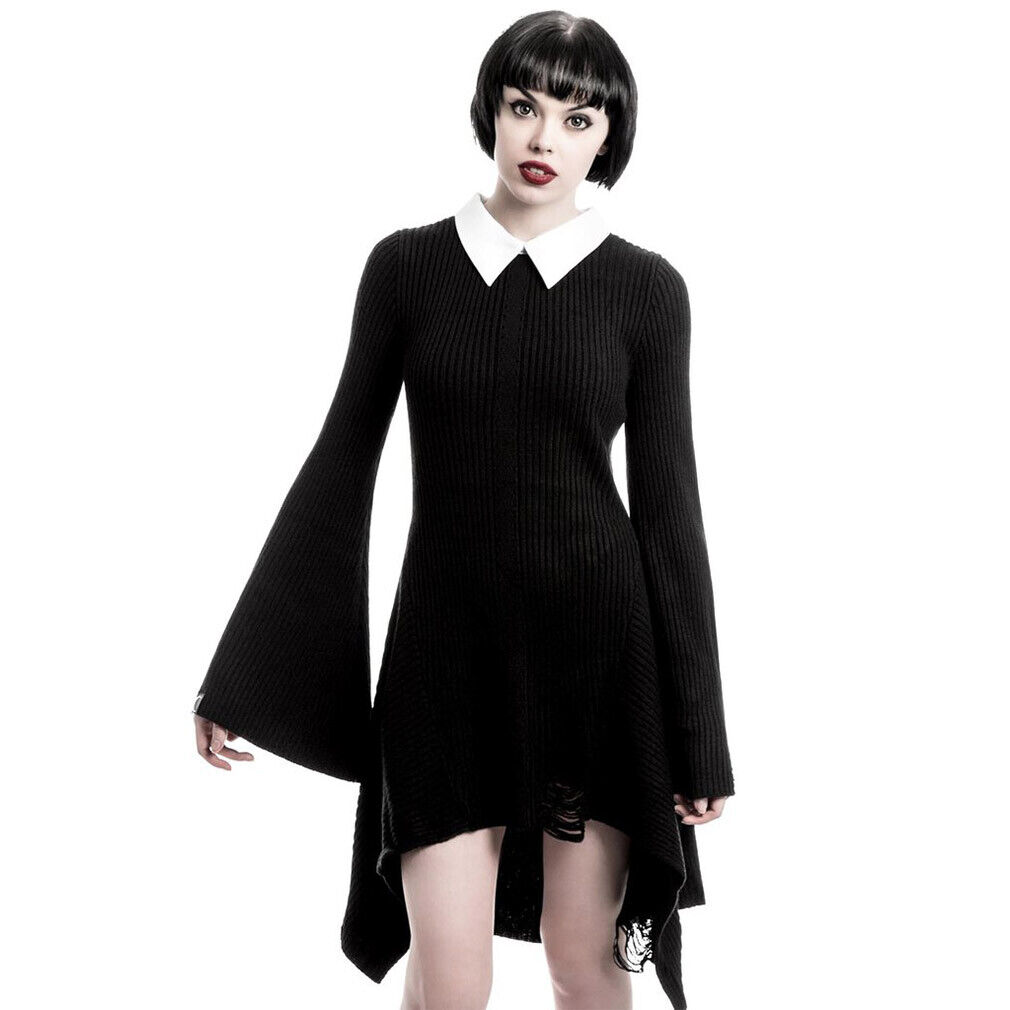 Killstar Gothic Goth Okkult Strickkleid Minikleid Kleid - Hellda Addams