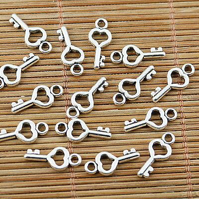 54pcs tibetan silver tone mini heart key charms EF1707