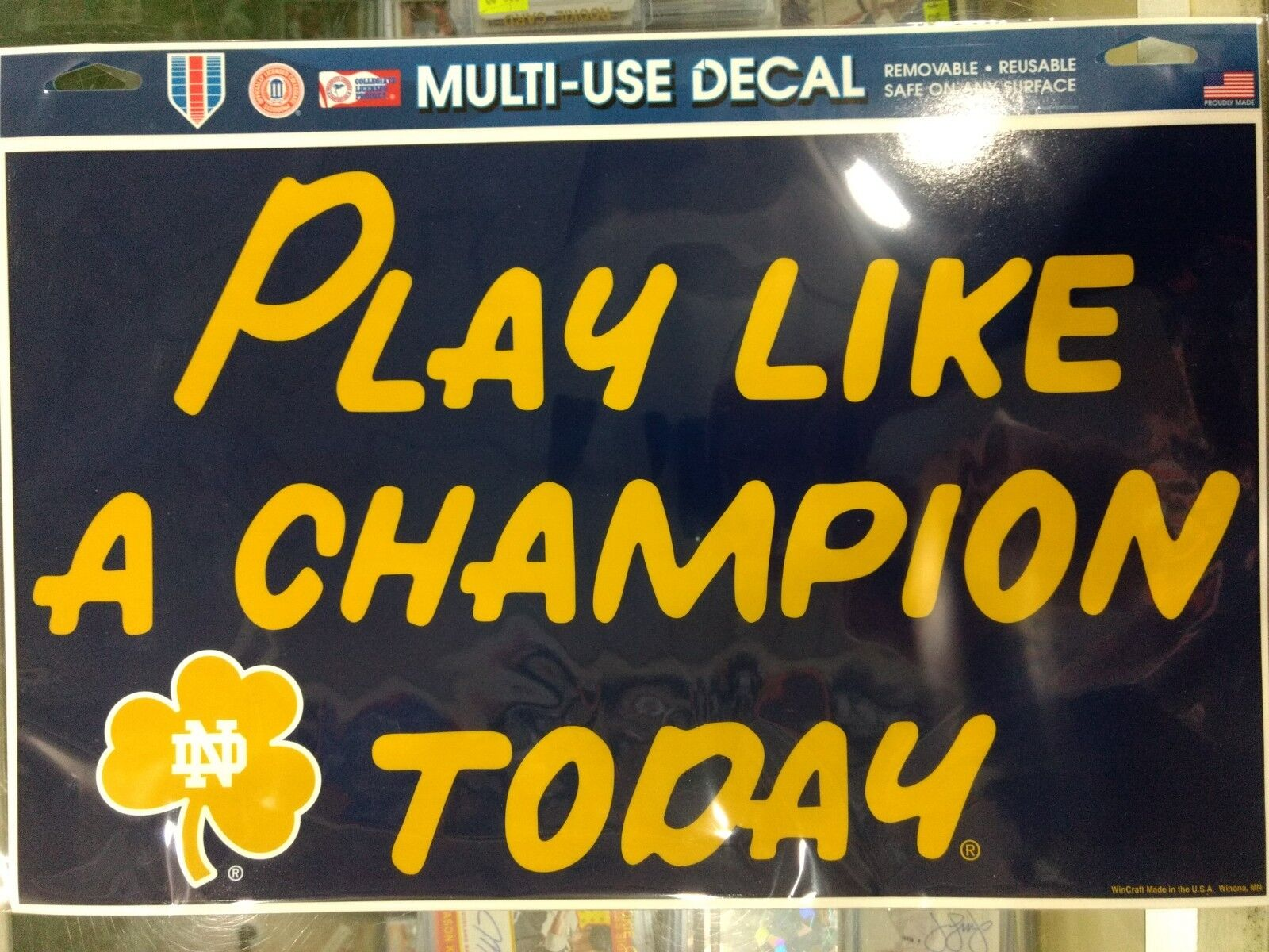 Notre Dame Fighting Irish Play Like A Champion Today 11 X17 Multi Use Decal
