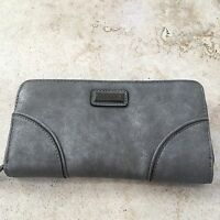 Nicole Miller Wallet Zip-around Full Size Dove Gray Ny8121 Clutch Faux Suede