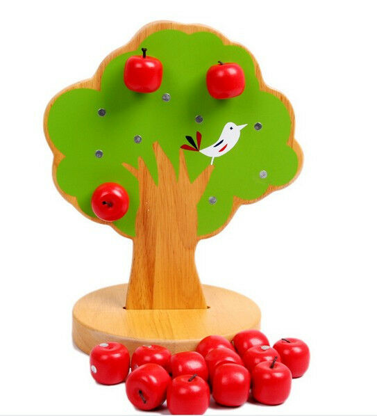 woody puddy wooden toy gift Magnetic apple tree Interactive Pick fruit game 1set