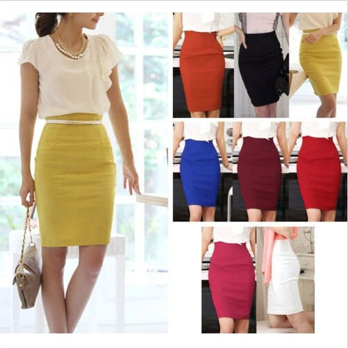 Hot! Womens Fitted Business Knee Long Slimming High Waist Office Pencil Skirt