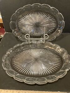 """VINTAGE HEISEY COLONIAL PATTERN OVAL PLATTERS - 13 3/8"""" AND 12 1/4"""" - THE PAIR"""