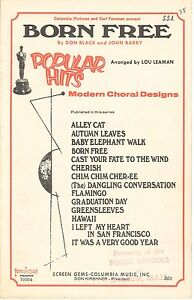 Details about Born Free Choral SSA Sheet Music 1966 Score w Piano  Accompaniment Black & Barry
