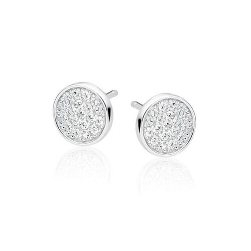 925 Sterling Silver Round Circle Disc Earrings Studs Gold Cubic Zirconia Clear