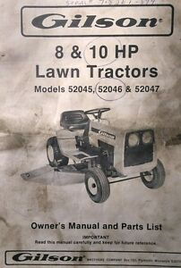 s l300 gilson 8 10 hp lawn garden riding mower tractor owner & parts manual