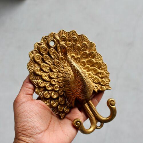 Antique Solid Brass Peacock coat hook rustic VTG bronze hook mid century modern