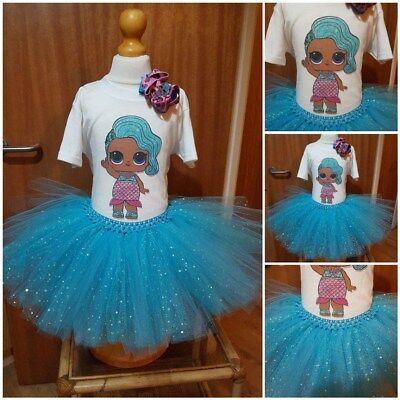 Bambola Bambina Paillettes Tutu Vestito Set Ragazze Compleanno Vestito Splash Queen