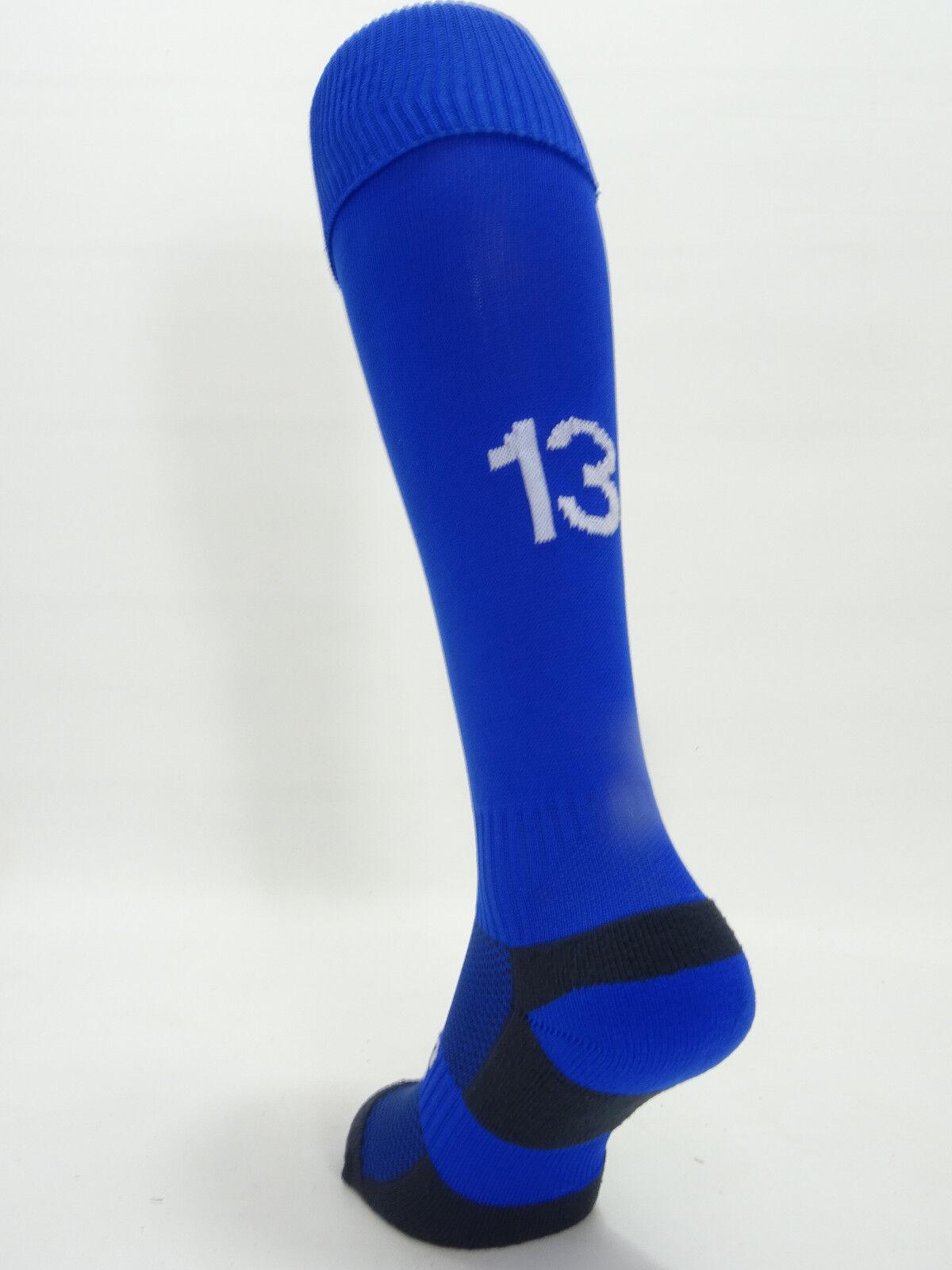 16 X Calcetines De Fútbol Para Para Para Hombre 'Numerada' . números Azul y blancoo 2-17. tamaño de Reino Unido 7-11 728086