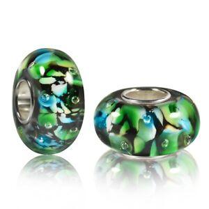MATERIA Murano Glas Beads Anhänger 925 Silber schwarz grün für Armband