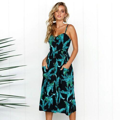 Women/'s Summer Boho Casual Long Maxi Evening Party Cocktail Beach Dress Sundress