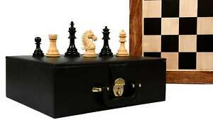 """Chess Pieces in Indian Rosewood & Natural Boxwood - 3.8"""" King with Storage Box"""