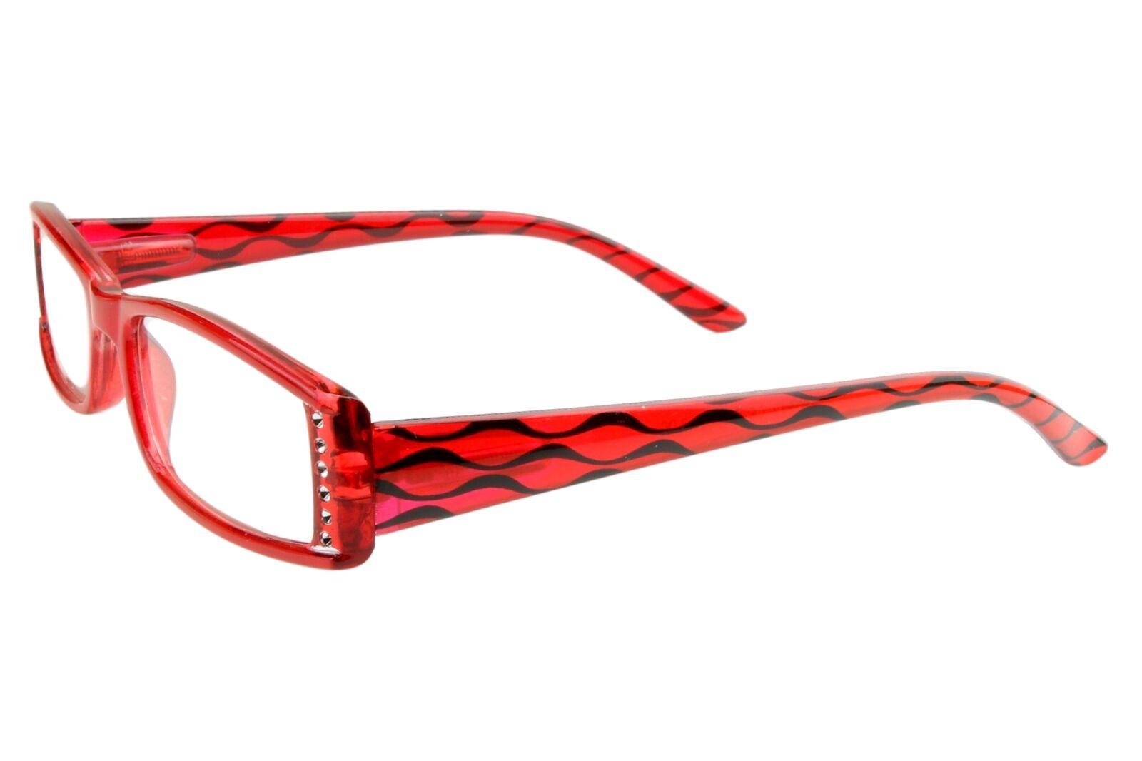 Designer Lesebrille für Damen rot glänzend mit Strasssteinen Federscharnier Etui