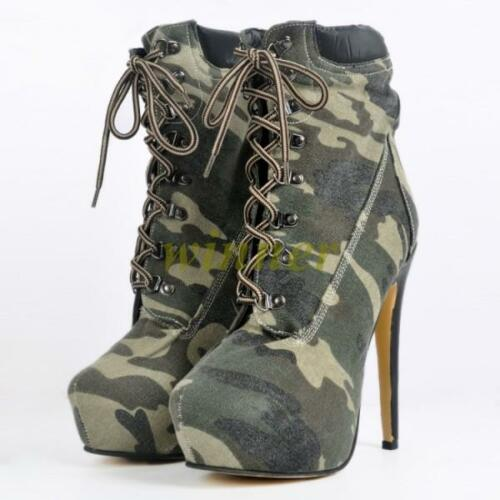 01 Womens Ankle Boots Camo Lace Up Platform Stiletto High Heels US sz 4-12.5 New