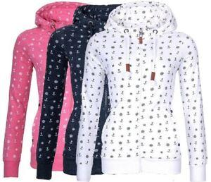 Damen-Sweatjacke-Shirt-Kapuzenpullover-Hochkragen-Anker-Sweater-Zipper-Hoodies