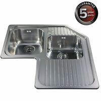 Cda Ccp3ss Stainless Steel 1mm Heavy Gauge Double Bowl Corner Kitchen Sink