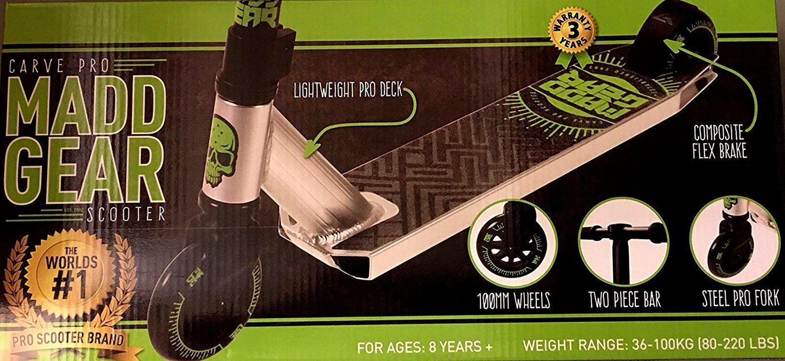 Madd Gear tallar Pro verde Negro Truco  Stunt Scooter Nuevo  contador genuino