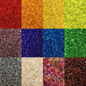 50g-glass-seed-beads-Transparent-size-11-0-approx-2mm-choice-of-colours