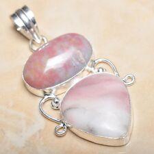 "Handmade Pink Rhodochrosite Gemstone 925 Sterling Silver Pendant 2.25"" #P11278"