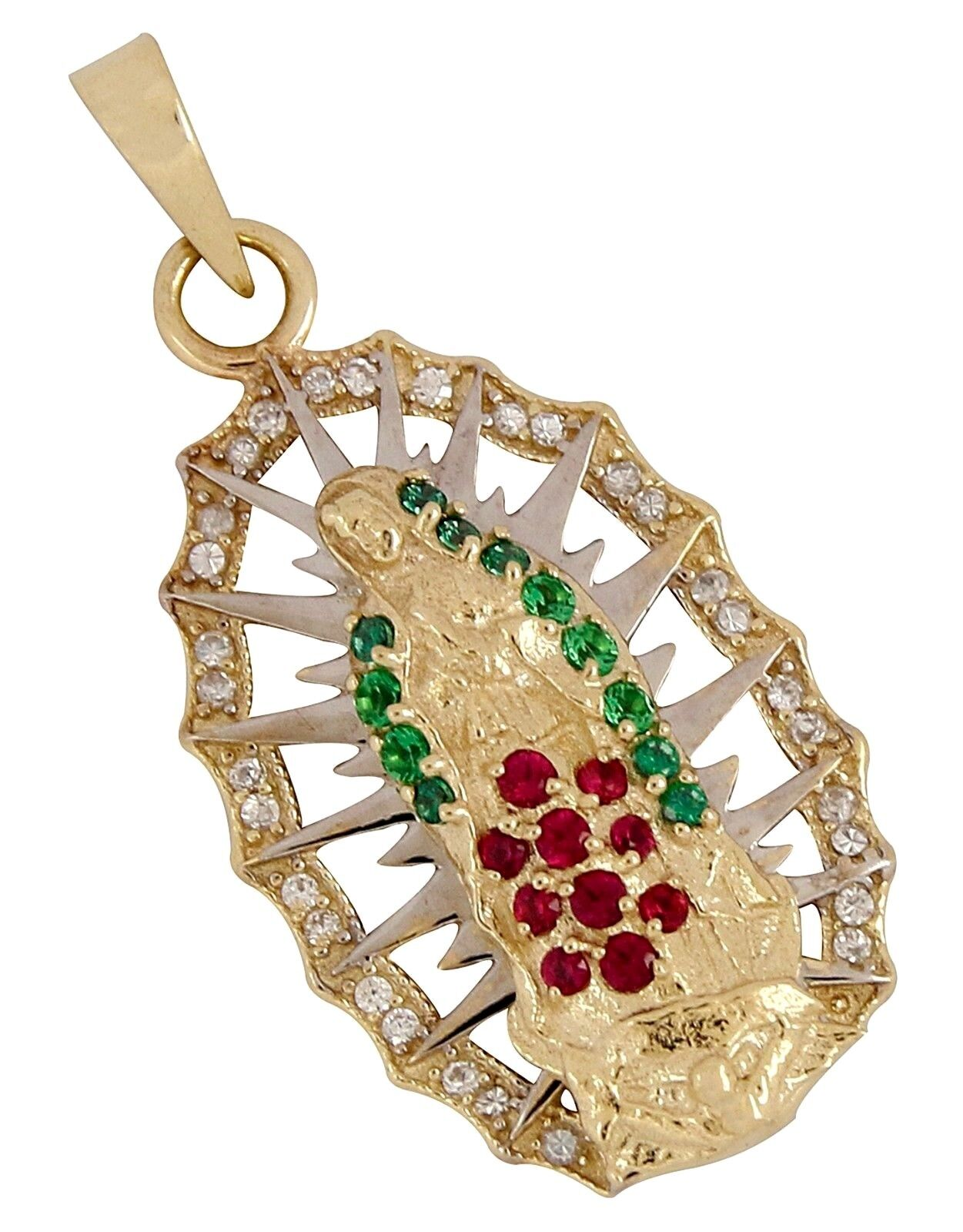 Medalla de La Virgen de Guadalupe con Piedras de colors Mexicanos en gold de 10k