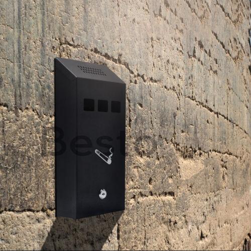 Black Luminous Wall Mounted Ashtray Metal Pub Club Outdoor Lockable Ash Bin 32cm