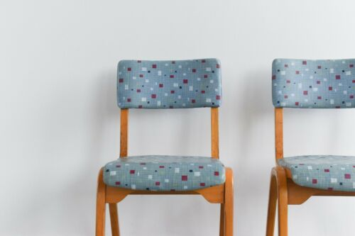 Vintage Pair of Wooden Chairs with Original Blue Patterned Vinyl Fabric Esavian