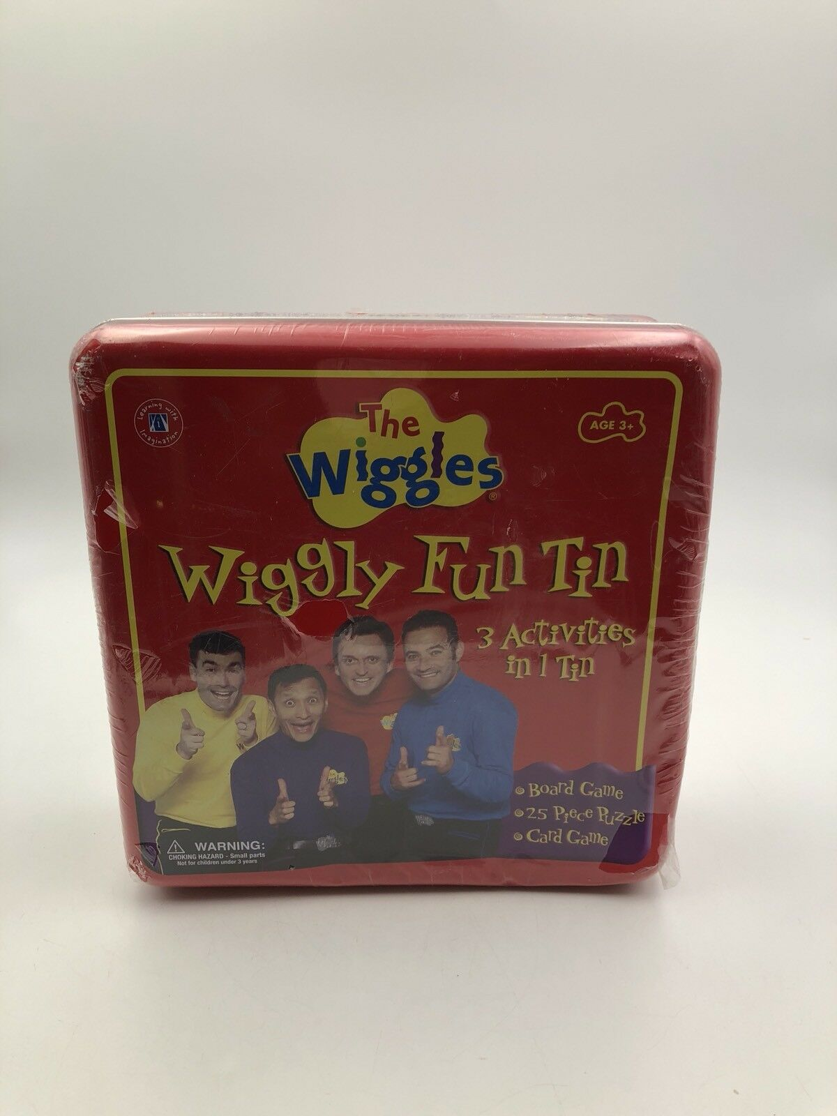 The Wiggles - Wiggly Fun Metal Tin  3 Activities  Board Game + Puzzle + Cards