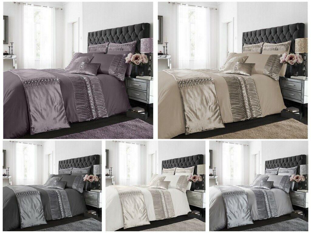 Porto Fancy Diamante Pleated Panel Duvet Cover Modern  Bedding Set Pillowcase