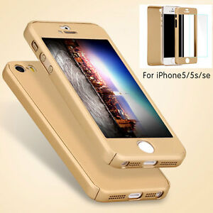 info for 9c169 d70b9 Details about Shockproof 360° Tempered Glass + Acrylic Hard Case Cover For  iPhone 5 5S SE US
