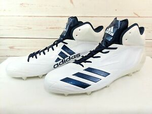 cheap for discount e5305 0f9e2 Details about Men Size 16 White Navy Blue Adidas Adizero 5 Star 6.0 Mid  Football Cleats B42485
