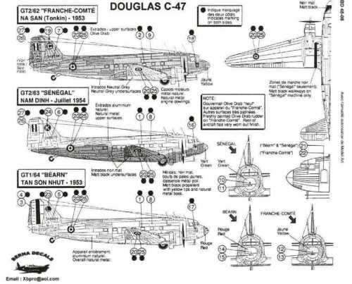 Berna Decals 1//48 DOUGLAS C-47 SKYTRAIN French Indochina