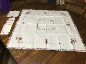 NOS-Vtg-Hand-Embroidered-Italian-Linen-Bridge-Tablecloth-6-Napkins-Set