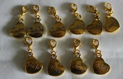 Fast Deliver Family Inspired Sister/brother/mom/dad/son/daughter/grandma/aunt Clip-on-charms Buy One Give One Fashion Jewelry
